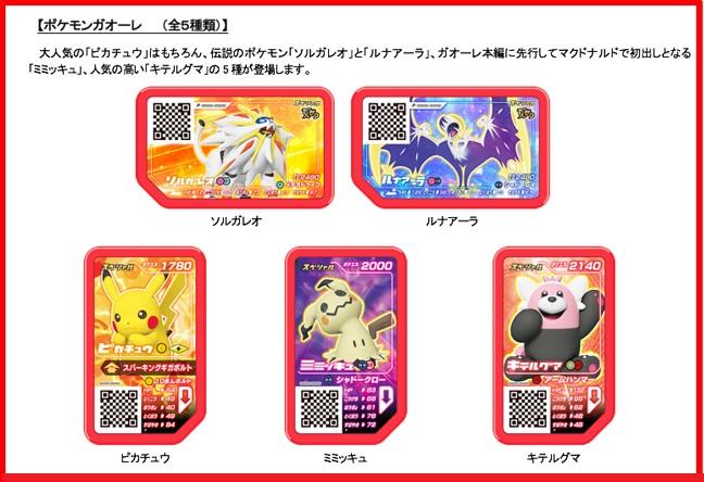 ハッピーセット「ポケモンガオーレ」5種類ディスクカード2017年9月1日