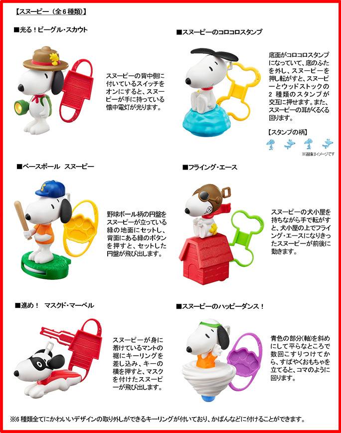 ハッピーセットのスヌーピー6種類おもちゃ2018年2月16日から
