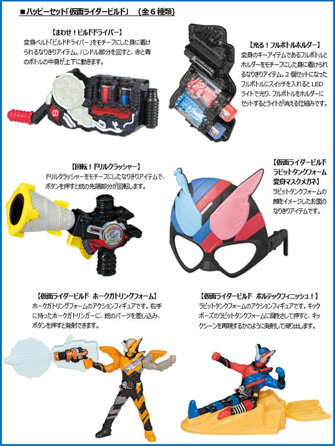ハッピーセット次回「仮面ライダービルド」6種類おもちゃ2018年6月8日