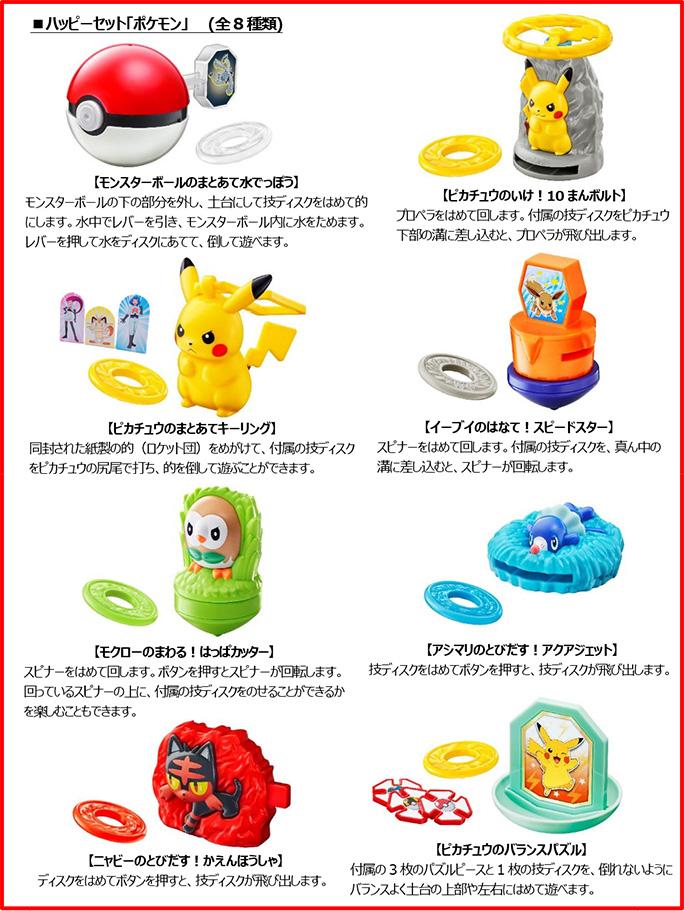 マクドナルドハッピーセット「ポケモン」8種類おもちゃ2018年7月6日