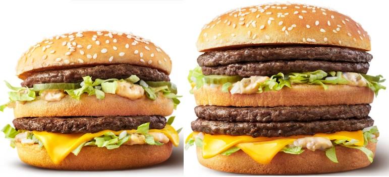 マクドナルド「ギガビッグマックとビッグマック」の比較