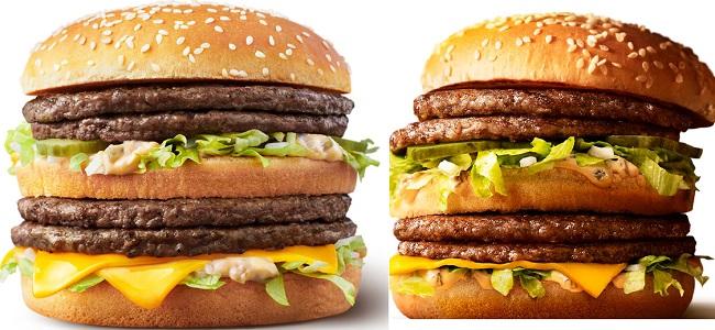 マクドナルド「ギガビッグマック倍ビッグマック」の比較