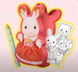 ハッピーセットのシルバニアファミリー2021第1弾「ショコラウサギの女の子ぬりえセット」